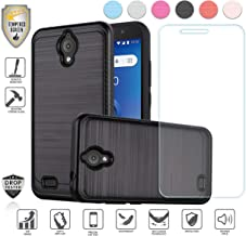 Compatible for At&t Axia QS5509a Case, Cricket Vision Case, with Tempered Glass Screen Protector, Premium Tough Armor Shield Metallic Brushed Design Hybird [Shockproof] (Black)