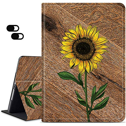 Fire HD 10 Case 9th/7th Generation, Dikoer Slim Rebound Series Stand Folio Case Heavy Duty Protection Cover[Auto Sleep/Wake] for All-Amazon Kind Fire HD Tablet(2019/2017 Release), Wood Sunflower