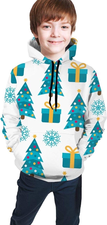 LINCHENC Boys Girls Hoodie, Christmas Tree Unisex 3D Printing Teenager Sweatshirt Kids Children's Sweater with Pocket for Age 7-20 Black