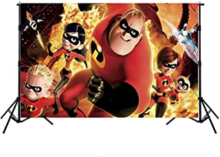 The Incredibles Backdrop 7x5ft Personalized Name Birthday Photo Drop Background Seamless Photo Backgrounds Tabletop Banner