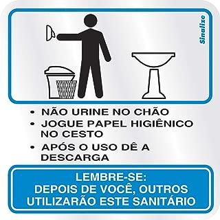 Placa em Alumínio 15X15 Cm - Procedimento Sanitário Masculino, SINALIZE, 120AJ, Prata