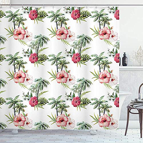 ASDAH Hawaii douchegordijn Aquarelle effect palmbomen Hibiscus bloemen romantische zomer bloei doek stof badkamer Decor Set met haken roze robijn 66 * 72in