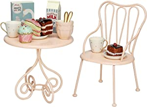 Aizulhomey Metal Miniature Dollhouse Furniture Romantic Chiar Coffee Table Breakfast Set Tea and Cake Set Size Suitable for 12 in Dolls and 1:6 Scale Dollhouse Decoration Dollhouse Accessories 16 Pcs
