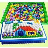 HHTC 296 Piezas/Set Caja Llena de Grano de Hongos de uñas Cuentas Inteligente 3D Puzzle Jigsaw Juegos de Mesa for niños Juguetes educativos for niños