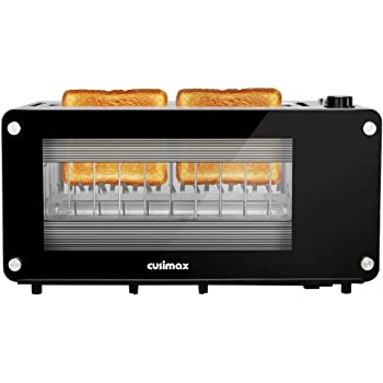Toaster 2 Slice,CUSIMAX Long Slot Toaster with Glass Window Bagel Toasters, Artisan Bread Toaster Stainless Steel Wide Slot with Automatic Lifting, Slide-out Glass Panel and Removable Crumb Tray