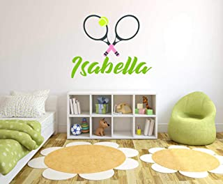 Personalized Name Tennis Player Girls or Boys - Custom Tennis Name - Wall Decal for Home Nursery Playroom Bedroom Decorati...