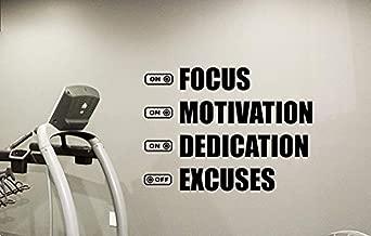 Wall Vinyl Decal Fitness Gym Focus Motivation Dedication Excuses Motivational Fitness Inspirational Fitness Motivation Quote Sport Training Workout Vinyl Decor Sticker Home Art Print WD3465