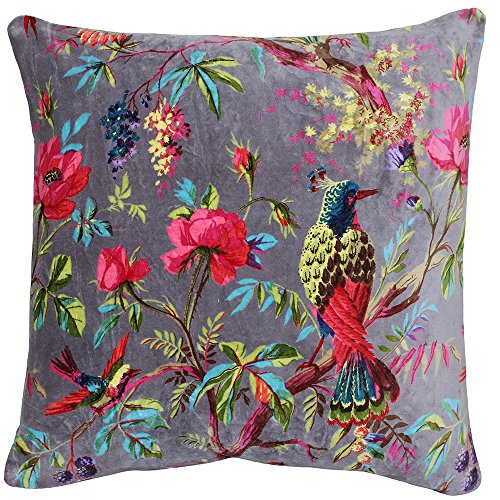 Riva Paoletti Paradise Square Cushion Cover - Mink Purple - Colourful Bird Print - Faux Velvet Fabric - Machine Washable - 100% Cotton - 50 x 50cm (20' x 20' inches) - Designed in the UK