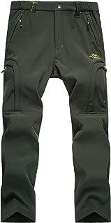 Kolongvangie Men's Outdoor Fleece Lined Ripstop Comfortable Snow Pants