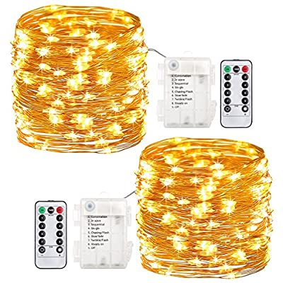 GDEALER 2 Pack 20 Feet 60 Led Fairy Lights Battery Operated with Remote Control Timer Waterproof Copper Wire Twinkle String Lights for Bedroom Indoor