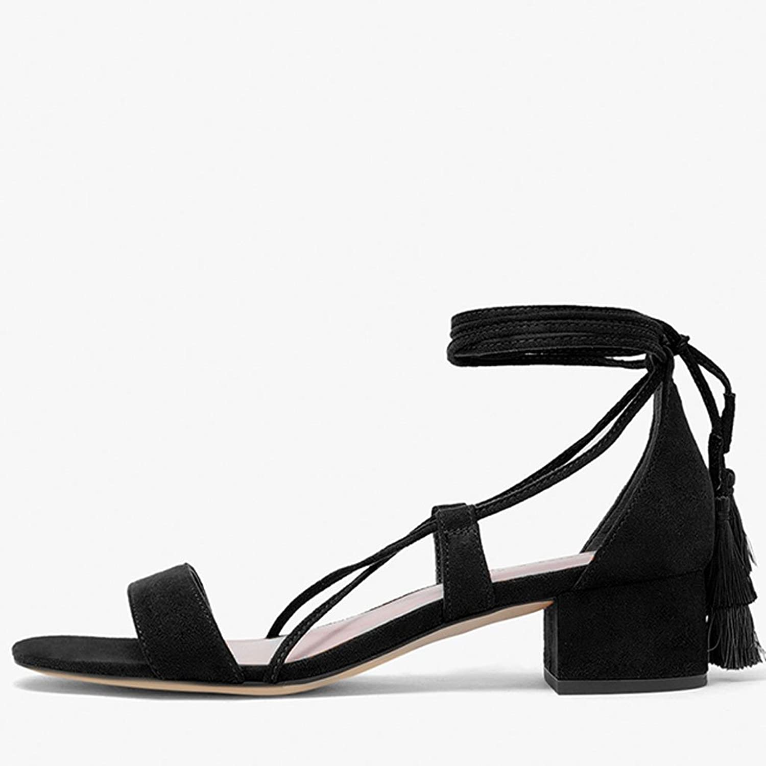 LIUXUEPING Sweet Line Tie Fringe with Thick Heel Sandals Tied with Fringe Trim Cross Lace shoes. (color   Black, Size   35)