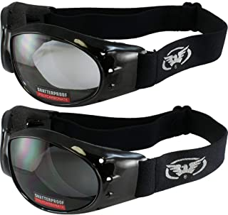 Global Vision Eliminator Deluxe Red Baron Style Padded Anti-Fog Motorcycle Goggles Black Frames (Clear and Smoke)