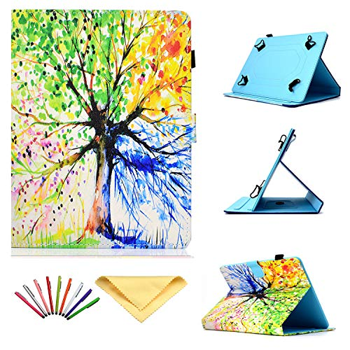 Uliking Universal Case for 7 inch Tablets, Folio Stand Cover with Pencil Card Holder for 6.8' 7' (6.5'-7.5') Samsung Tab 2/3/4/A/E (7.0)/Fire 7/Lenovo/Huawei mediaPad 7/HP/Asus/LG,ect, Rainbow Tree