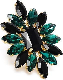 ZAVERI PEARLS Black & Green Crystal Shine Stones Party Bling Contemporary Adjustable Finger Ring For Women-ZPFK10011