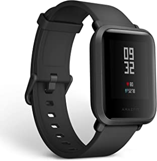 Amazfit Bip Fitness Smartwatch, All-Day Heart Rate and Activity Tracking, Sleep Monitoring, Built-In GPS, 30-Day Battery Life, Bluetooth, Onyx Black