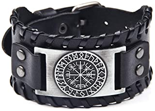 Viking Bracelet Norse Vegvisir - Nordic Bracelet with Runic Compass - Celtic Pagan Jewelry (Vegvisir Silver)