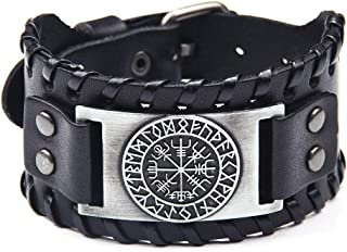 Viking Bracelet Norse Vegvisir - Nordic Bracelet with Runic Compass - Celtic Pagan Jewelry of Talisman (Vegvisir Silver)