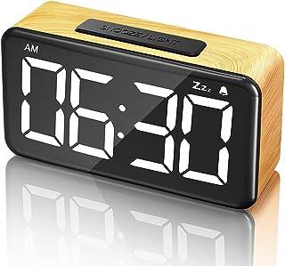 ساعت زنگ دار ، ساعت دانه ای چوبی با عملکرد تعویق ، 6 تنظیم کننده نور روشنایی کم نور ، 6 اینچ دیجیتال با صفحه نمایش سفید پررنگ ساعت دیجیتال آسان ، USB شارژر با آداپتور برای اتاق خواب ، میز و دفتر