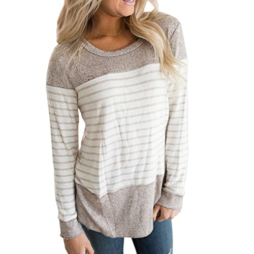 e20a1a43fca Vemvan Womens Long Sleeve Round Neck T Shirts Color Block Striped Casual  Blouses Tops