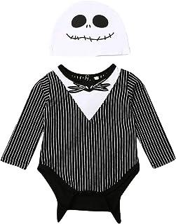 Muasaaluxi حديثي الولادة الرضع الأولاد البنات ملابس هالوين سوداء بدلة وعباءة ملابس هالوين التنكرية (E أسود أبيض، 0-3M)