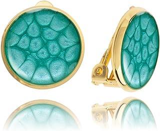 Pendientes Redondos y Clásicos de Clip Azul Claro para Mujer