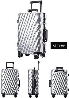 WHPSTZ Trolley Case Aluminum Frame Trolley Case Twill Bag Waterproof Light Universal Wheeled Luggage Lock Trolley case (Color : Silver, Size : 24 inch)