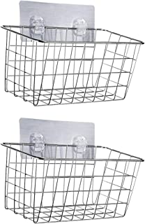 HOMEIDEAS Adhesive Shower Basket Shelf Shampoo Conditioner Holder Deep Bath Wall Caddy, No Drilling, SUS304 Stainless Steel, Set of 2