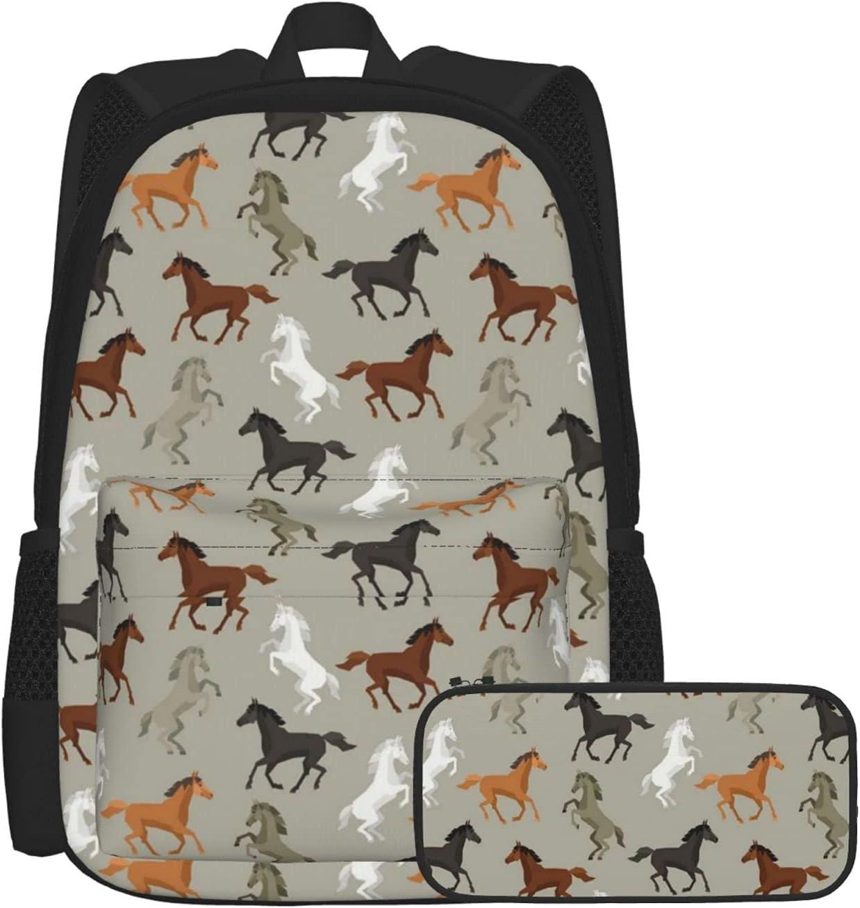 Horses Dedication Two-Piece Max 54% OFF Set Casual School Bookbag With Pencil Box Case
