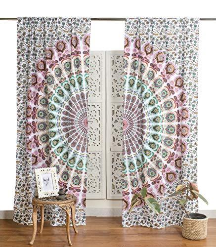 Popular Handicrafts Indian Hippie Bohemian Beautiful Peacock Mandala Curtain Panels White Multicolor