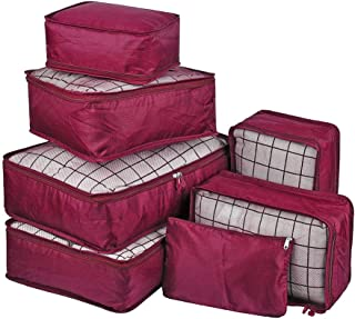 7Pcs Waterproof Travel Storage Bags Clothes Packing Cube Luggage Organizer Pouch(Red wine)