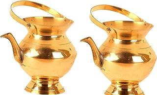 Shivhomeworld Brass Kamandalam/Kamandalu/Thiru Kaveri (Big and Small, Golden) - Set of 2