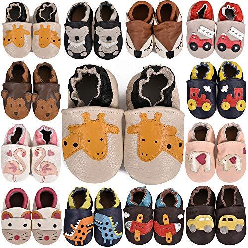 SUADEX Krabbelschuhe Leder Lauflernschuhe Jungen Mädchen Baby Weicher Babyschuhe 0-24 Monate Kleinkind Hausschuhe mit Wildledersohlen,A Beige Giraffe,12-18 Monate