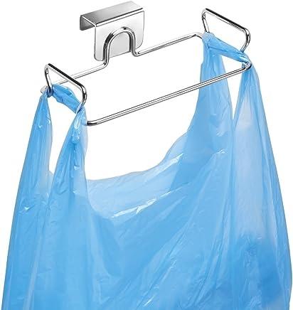 mDesign Soporte para bolsa de basura fácil de colgar – Colgador de bolsas de acero – Sujeta bolsas, ideal como sustituto para el cesto de basura y los contenedores de reciclaje – cromado