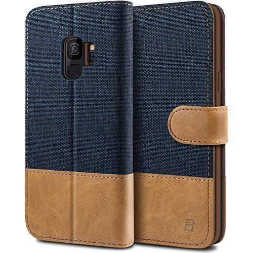 BEZ Hülle für Samsung Galaxy S9 Hülle, Handyhülle Kompatibel für Samsung Galaxy S9, Handytasche Schutzhülle Tasche Hülle [Stoff & PU Leder] mit Kreditkartenhaltern, Blaue Marine