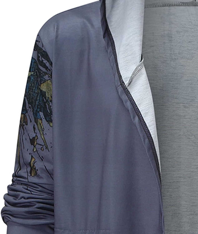 FORUU Winter Jacket For Men Cross Print,2021 Casual Long Overcoat with Hood Warm Jackets Windproof Track Jacket