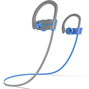 LETSCOM Bluetooth Headphones IPX7 Waterproof, Wireless Sport Earphones, Hifi Bass Stereo Sweatproof Earbuds W/Mic, Noise Cancelling Headset for Workout, Running, Gym, 8 Hours Play time, BlueGray