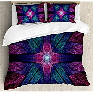 Ambesonne Fractal Duvet Cover Set, Psychedelic Colorful Sacred Symmetrical Stained Glass Figure Vibrant Artsy Design, 3 Piece Bedding Set with Pillow Shams, Queen/Full, Plum Indigo
