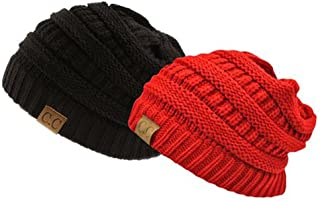 Thick Slouchy Knit Oversized Beanie Cap Hat, 2pack blackred