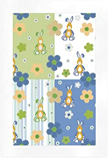 Kids Decor Retro Art Print,Patchwork Style Nursery Room Print Bunny Rabbit Flowers Daisy Stripes Party Art,10''L x 7''W