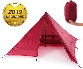Lixada ワンポールテント キャンプテント 1-2人用 2色 超軽量 簡単設営と撤収 前室広い ツーリング フルクローズ 防雨防風防災 SPF40+ アウトドア キャンプ ピクニック 災害など