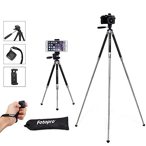 Travel Tripod, Fotopro 39.5 Inches Lightweight Compact Phone Tripod with Tripod for Phone Holder Mount & Bluetooth Remote Control & Portable Tripod Bag (Aluminum Alloy Tripod, Black)