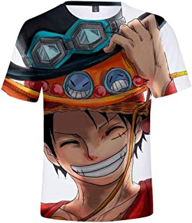 AMOMA Unisex Anime One Piece 3D Printed T-Shirt Luffy Chopper ACE Tops Tees