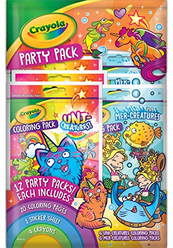 Crayola Coloring Book Party Favors, Uni-Creatures & Mer-Creatures, 12 Coloring Packs, Gift, 04-0976, Multi