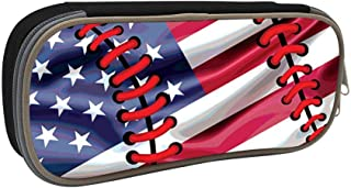 WWQE-PEN Student Baseball American Flag Homecube Big Capacity Pencil Case Bag