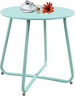 AOBOCO Side Table Patio Furniture for Lawn and Garden Outdoor Coffee Table (Macarone Blue)