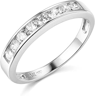 The World Jewelry Center .925 Sterling Silver Rhodium Plated Channel Set Wedding Band