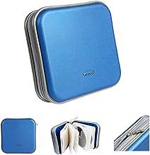 Saim Square CD DVD Bag Wallet 40 Capacity CD DVD Binder Disc Storage Case Wallet CD DVD Protection Box Case Holder Hard Shell Safety Portable, Blue