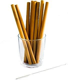 Reusable Bamboo Straws - Non Plastic Drinking Straw | Organic Bamboo | Set of 12