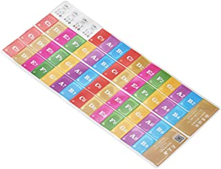 Bundle of 2,Decdeal Piano Keyboard Music Note Stickers Colorful Removable for 37/49/ 61/88 Key Keyboards for Kids Beginner...