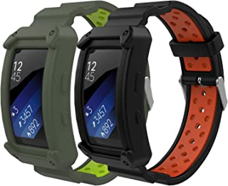 Gear Fit2 / Gear Fit2 Pro Watch Band, MoKo [2-Pack] Soft Silicone Replacement Sport Band for Samsung Gear Fit 2 SM-R360 / Fit 2 Pro Smart Watch - Black & Red + Gray & Green